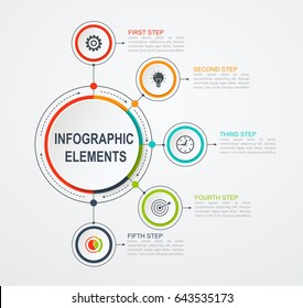 Presentation business infographic template with 5 options. Business concept with integrated circles.