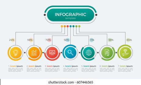 Presentation business infographic template with 7 options. Vector illustration.