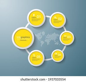 Presentation business infographic template circle with 5 step
