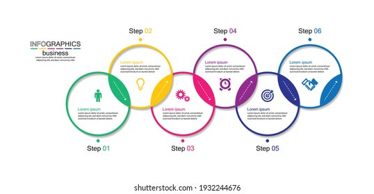 Presentation business infographic template colorful with 6 step
