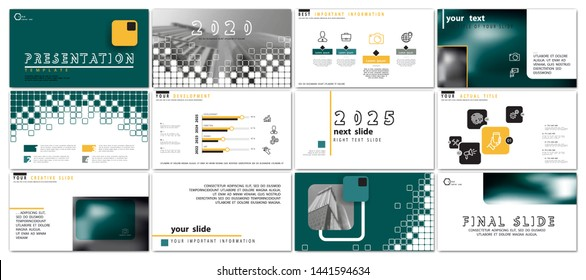 Presentation business template. Vector set, elements of infographics, white background. Flyer, postcard, corporate report, marketing, advertising, banners. Slideshows, photos, brochures, annual report