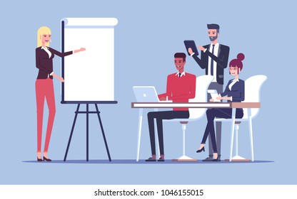 The presentation or the conference in the office in front the group of employees or businessmen vector flat illustration. The businesswoman makes a presentation and talks with a group of young workers