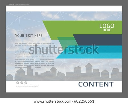 presentation design template city buildings real stock vector