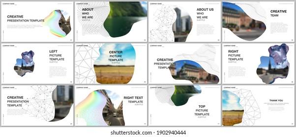 Presentation design vector templates, multipurpose template for presentation slide, flyer, brochure cover design, infographic report. Simple minimal design background with geometric curved shapes.
