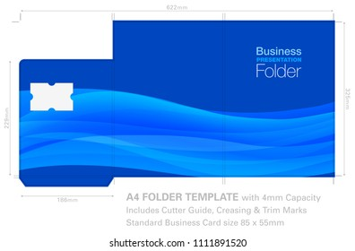 Presentation Folder A4 Template with Background Graphic, Cutter Guide, standard business card slot and 4mm capacity.