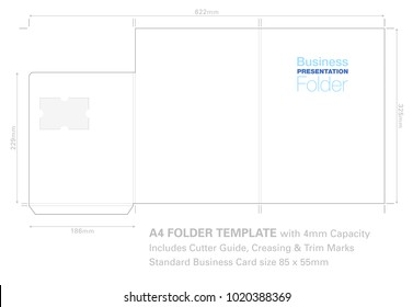 Presentation Folder A4  Template with Cutter Guide, with standard Business Card slot, ready for print all layers are clearly marked
