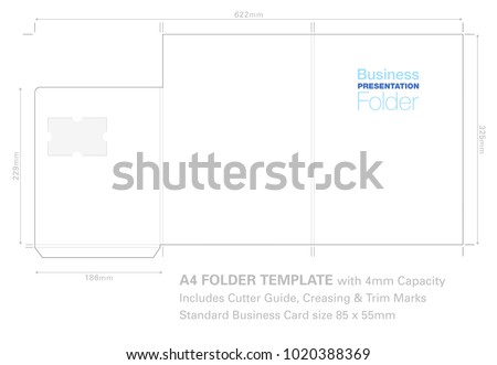 presentation folder a 4 template cutter guide stock vector royalty