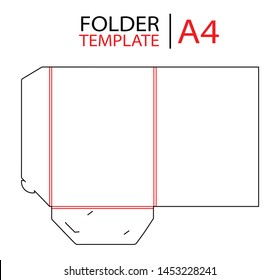 Presentation folder template with gusset die cut stamp. Empty shablon template for A4 documents and business card with lock. Vector black isolated circuit, line folder on white background.