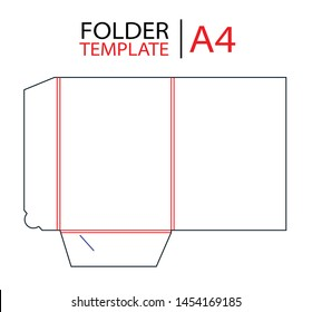 Presentation folder template with gusset die cut stamp. Empty mock up folder shablon template for A4 documents  with lock. Vector black isolated circuit, line folder.