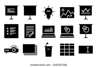 presentation glyph icon symbol set