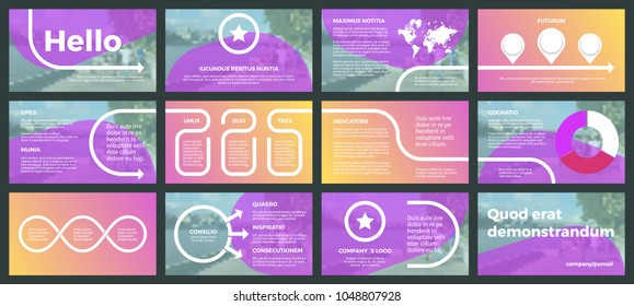 Presentation with gradient orange and purple color. Vector business template for corporate reports, infographics, advertising.