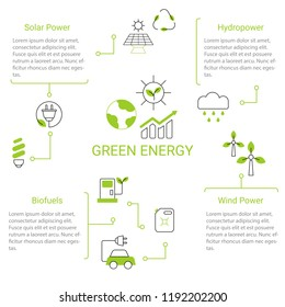 Presentation green energy infographic template. Isolated vector illustration.