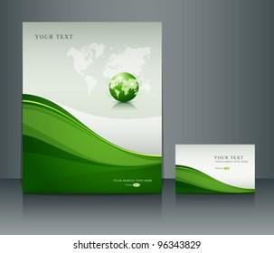 Presentation green globe of poster flyer and name-card design background, vector illustration