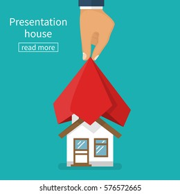 Presentation house. House covered with red silk cloth. Opening construction concept. Vector illustration flat design. Isolated on white background. Show home. Estate transaction.