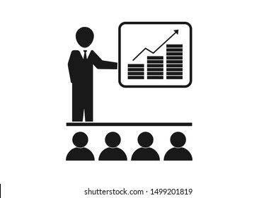 Presentation icon vector isolated on white background
