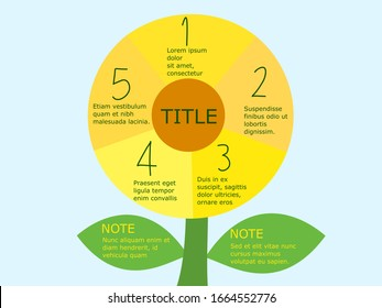Presentation infographic template with five options.Templates for creating infographics and presentations.Five petal flower for decoration.