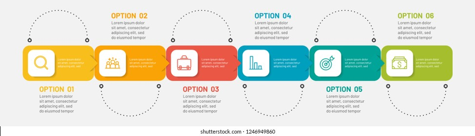 Presentation infographic template. Timeline with 6 step, option, process. Vector illustration. Can be used for workflow diagram, report, flowchart, plan, web design.