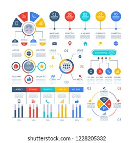 Presentation infographics. Flowchart timeline process chart, organization workflow, number option diagrams. Infographic vector set