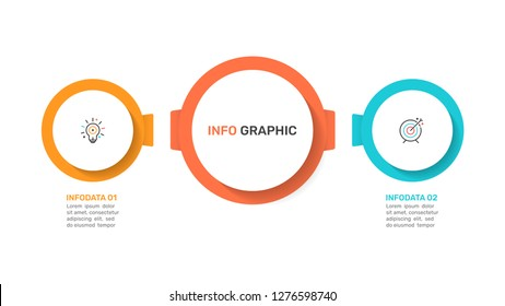 Presentation infographics template. Business concept with  2 options, marketing icons. Vector illustration.