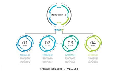 Presentation infographics.Timeline with 4 steps, circles.Vector linear infographic element.Vector business template for presentation.Vector eps10 illustration.