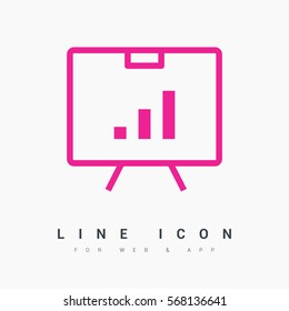presentation isolated minimal icon. graph  line vector icon for websites and mobile minimalistic flat design.