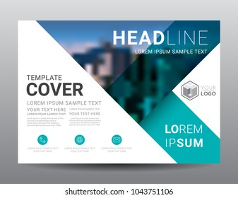 Presentation layout design template. Business Financial for background, Fold leaflet, Flyer, Magazine, Annual report, Book Cover, Blur city background, Flat style vector illustration artwork A4 size.