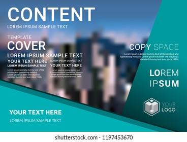 Presentation layout design template, Business Financial for background, Blur city background, Flat style vector illustration artwork.