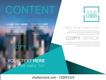 Presentation layout design template, Business Financial for background, Blur city background, Flat style vector illustration artwork.