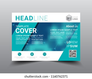 Presentation layout design template, Flyer Design, Annual report, Cover design template, Science technology concept, Flat style vector illustration artwork A4 size.