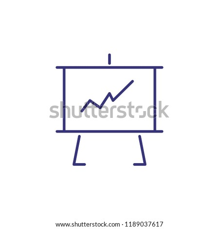 Presentation Line Icon Board Whiteboard Graph Stock Vector