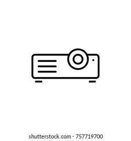 Presentation, movie, film, media projector vector illustration simple modern line icon, symbol, pictogram design