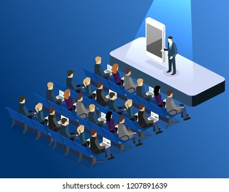 presentation of a new phone or mobile application. Business presentation meeting in conference hall. People listen to speakers. Flat 3D illustration.