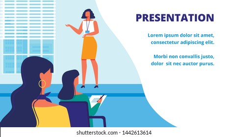 Presentation New Woman Training. Teacher in front Audience. Training for Women. Vector Illustration. Woman Holds Lecture. Business Training. Support for Business Lady. Take Note Lecture.