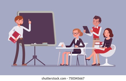 Presentation in the office. Senior management man talking about effective corporate business for young company workers. Vector flat style cartoon illustration isolated on blue background