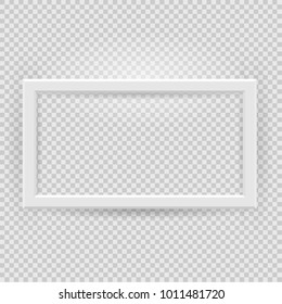 Presentation rectangular horizontal picture frame design element with shadow on transparent background. 3D Board Banner Stand on isolated clean blank. Vector illustration EPS 10 for photo, image, text