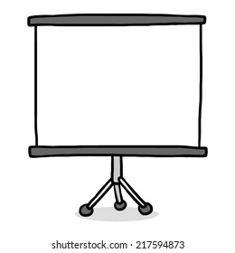 presentation screen / cartoon vector and illustration, grayscale, hand drawn style, isolated on white background.