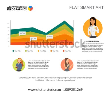 Presentation slide area chart woman character stock vector royalty presentation slide with area chart and woman character icons editable template flat smart art maxwellsz