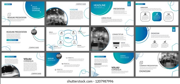 Presentation and slide layout background. Design blue gradient circle template. Use for business annual report, flyer, marketing, leaflet, advertising, brochure, modern style.