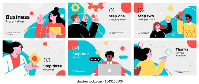 Presentation and slide layout background. Yellow design template with business people. Use for business annual report, flyer, marketing, leaflet, advertising, brochure, modern style. Vector