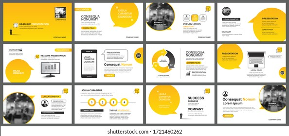 Presentation and slide layout template. Design yellow gradient in paper speech shape background. Use for business annual report, flyer, marketing, leaflet, advertising, brochure, modern style. - Shutterstock ID 1721460262