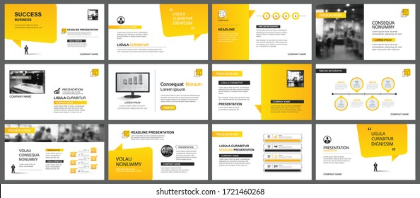 Presentation and slide layout template. Design yellow gradient in paper speech shape background. Use for business annual report, flyer, marketing, leaflet, advertising, brochure, modern style.