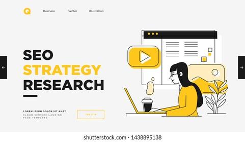 Presentation slide template or landing page website design. Business concept illustrations. Modern flat outline style. Quality SEO service