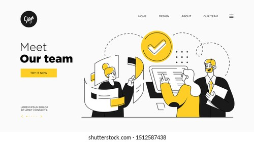 Presentation slide template or landing page website design. Business concept illustrations. Modern flat outline style. Teamwork concept