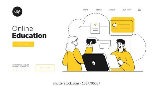 Presentation slide template or landing page website design. Business concept illustrations. Modern flat outline style. Online education courses
