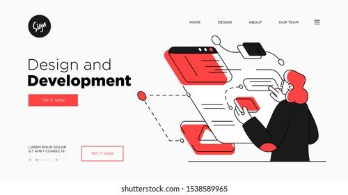 Presentation slide template or landing page website design. Business concept illustrations. Modern flat outline style. Design And Development