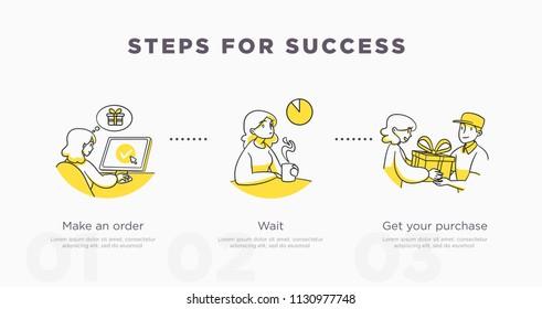 Presentation slide templatefor. Shopping concept illustration. Vector