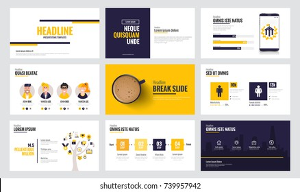 Presentation slide templates and business brochures. Set of modern minimalistic vivd infographic elements for web, print, magazine, flyer, brochure, media, marketing and advertising concepts. Vector