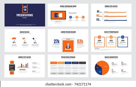 Presentation slide templates and business brochures. Set of modern minimalistic infographic elements for web, print, magazine, flyer, brochure, media, marketing and advertising concepts. Vector
