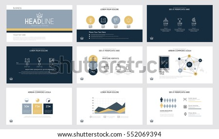 presentation slide templates business brochures dark のベクター画像