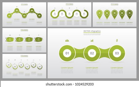 Presentation slide templates and business vector brochures. Set of modern infographic vector elements for web, print, magazine, flyer, brochure, media, marketing and advertising concepts.
